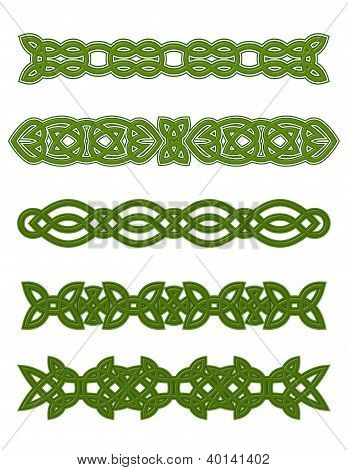 Green celtic ornaments and embellishments
