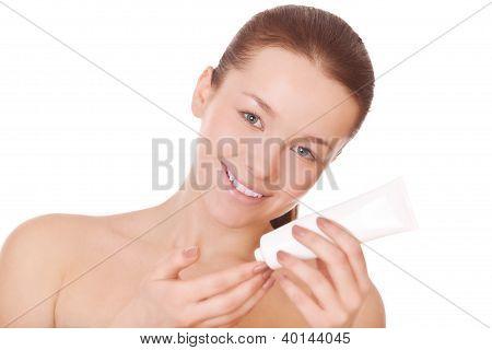Woman With Moisturizer