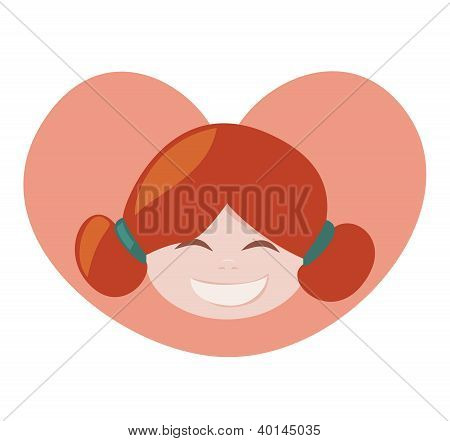 vector ginger hair happy girl with heart