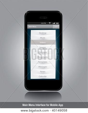 Main menu interface for mobile app in editable vector format