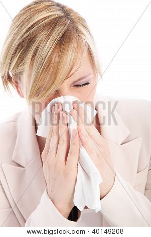 Young Woman With A Head Cold