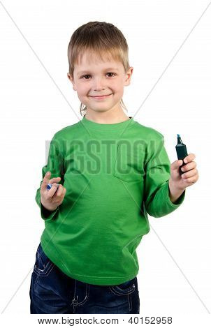 Portrait Of A Pensive Little Boy With A Blue Marker, Isolated On White Background