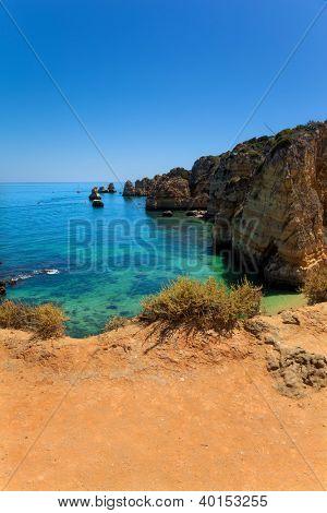 View of Dona Ana beach at Lagos, Algarve, Portugal
