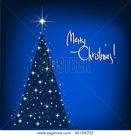 Blue Christmas Tree. Vector Abstract Winter Background With Stars