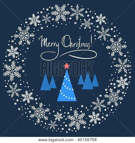 Weihnachtskranz mit blauer Baum und roten Stern. Vektor-illustration