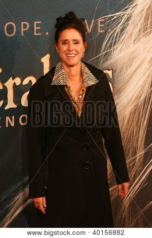 "NEW YORK-DEC 10: Julie Taymor attends the premiere of ""Les Miserables"" at the Ziegfeld Theatre on December 10, 2012 in New York City."