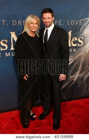 NEW YORK-DEC 10: Actor Hugh Jackman and wife, Deborra-Lee Furness attend the premiere of