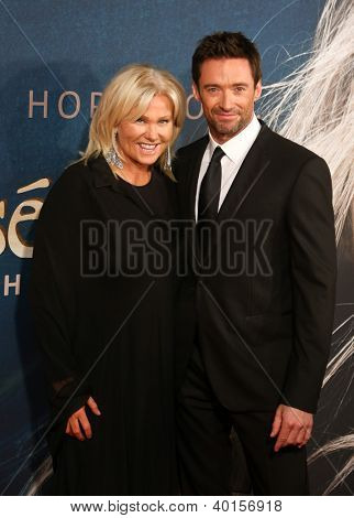 "NEW YORK-DEC 10: Actor Hugh Jackman and wife, Deborra-Lee Furness attend the premiere of ""Les Miserables"" at the Ziegfeld Theatre on December 10, 2012 in New York City."