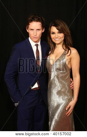 "NEW YORK-DEC 10: Eddie Redmayne and Samantha Barks attend the premiere of ""Les Miserables"" at the Ziegfeld Theatre on December 10, 2012 in New York City."