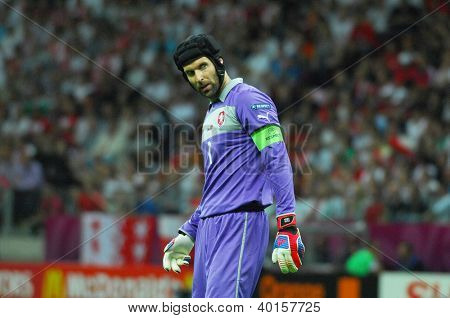 WARSAW - JUNE 21: Petr Cech goalkeeper of Czech Republic Football National Team during the match Czech Republic - Portugal Euro2012  June 21, 2008, National Stadium, Warsaw, Poland
