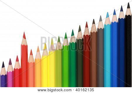 Lápis de cor, formando um gráfico de ascensão