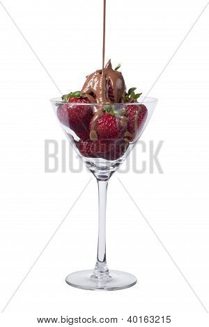 Pouring Chocolate In Strawberries On The Wine Glass