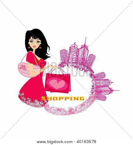 Fashion Girl Shopping - Abstract Illustration