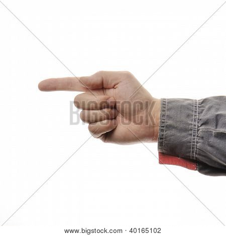 Closeup Mans Hand Isolated On White Background