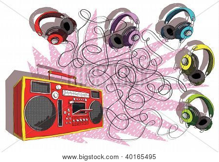 Headphones and Boom-box Maze Game