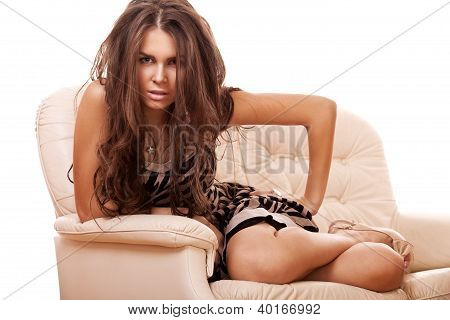 Sensual Brunette Woman With Long Hair