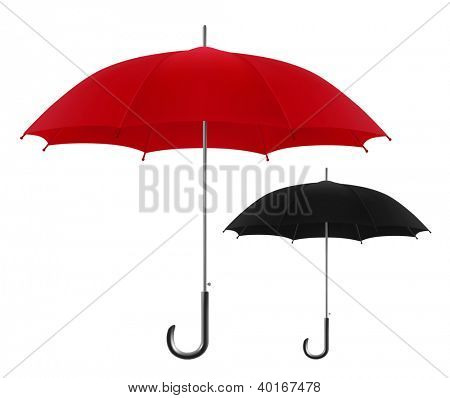 Vector illustration of red and black umbrellas