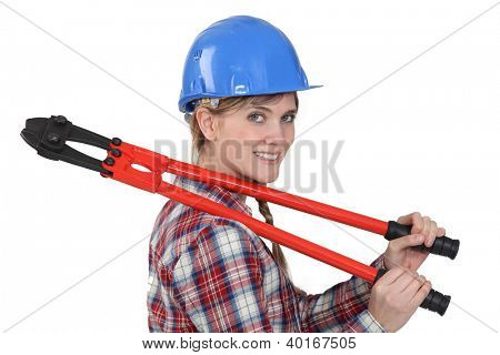 Tradeswoman holding boltcutters