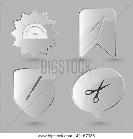 Education icon set. Scissors, ruling pen, protractor, caliper. Glass buttons.