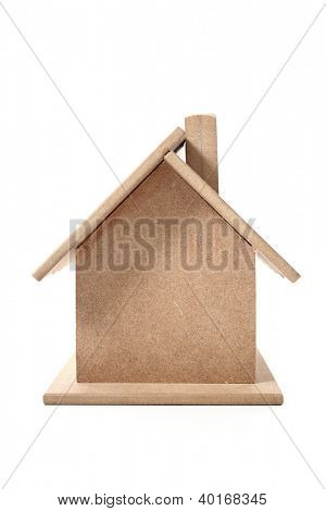A wooden house on white background.