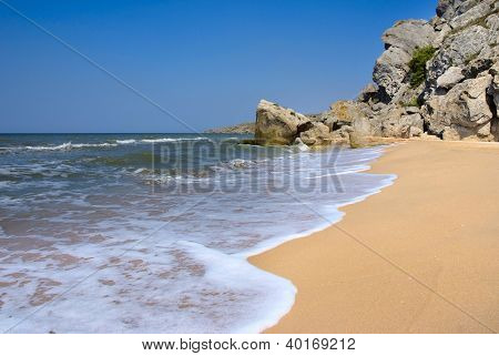 Deserted Beach In Summer Crimea