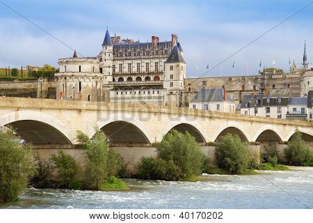 Amboise castle and old bridge, France