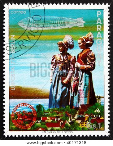 Postage stamp Paraguay 1977 German Girls in Traditional Costumes