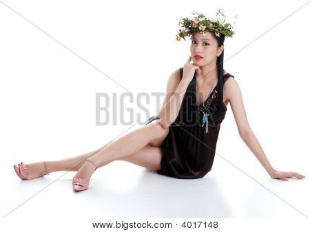 Oriental Woman Wearing Flowers Isolated