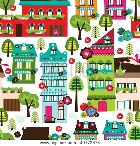 Seamless happy village houses retro new home background pattern in vector