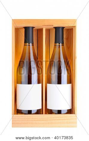 Two white wine bottles in a wooden gift case, isolated on white, Vertical Format.