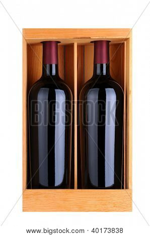 Two red wine bottles in a wooden gift case, isolated on white, Vertical Format.