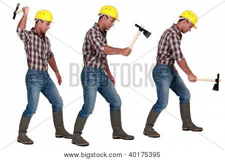 Man using hatchet