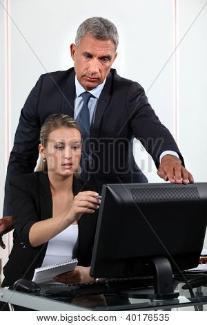 Personal assistant asking her boss a question