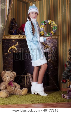 girl in Snow-maiden costume