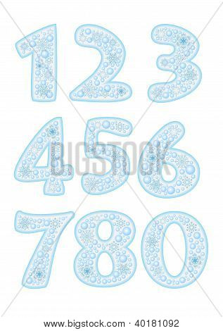 Christmas font with snowflakes