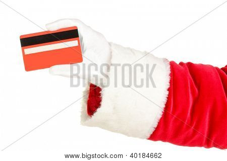 Santa Claus hand holding red credit card isolated on white