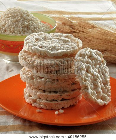Rise diet crackers and ingredients. Diet rise cakes.Dehydrated food.