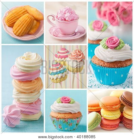 Pastel Colored Cakes Collage