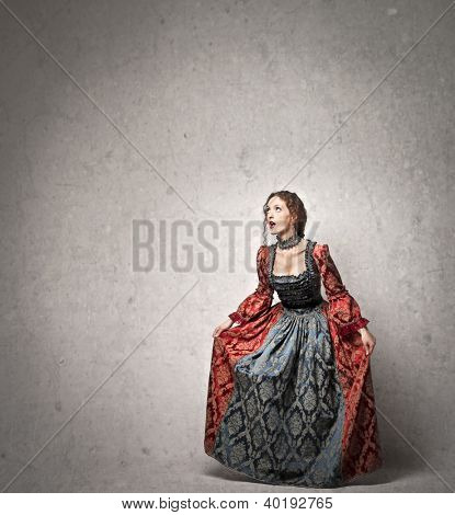 Red woman with a historical dress