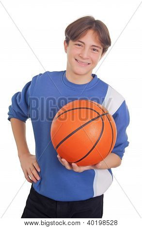 Teenage Boy Holding A Basketball