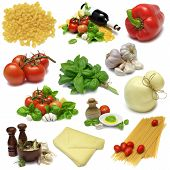 picture of italian food  - Italian cooking food sampler with clipping path - JPG