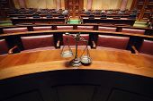 picture of courtroom  - Symbol of law and justice in the empty courtroom law and justice concept - JPG