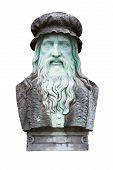 stock photo of leonardo da vinci  - A marble carving of the great inventor and painter Leonardo Da Vinci - JPG