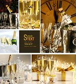 stock photo of special occasion  - Collage of champagne images for New Years - JPG
