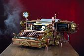 stock photo of steampunk  - Steampunk style future Typewriter - JPG