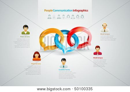 Vector speech rings, business people icons symbol illustration. Conversation Infographics