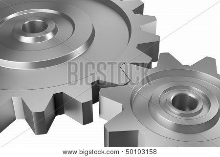 Two Interlocking Cogwheels On Downward Diagonal
