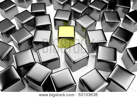Golden Cube In The Crowd Of Scattered Steel Cubes