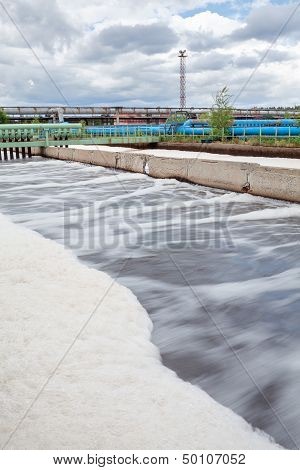 Aeration Volumes For Water In Wastewater Treatment Plant. Long Exposure