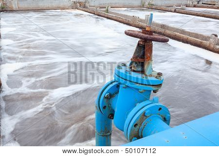 Industrial Tap With Blue Pipeline For Oxygen Blowing Into Sewage Water